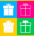 gift sign four styles of icon on four color vector image vector image