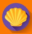 gold sea shell flat logo seafood flat icon vector image vector image