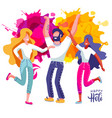 group young people celebrates holi set man vector image vector image