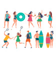 groups of summer peoples stylized vector image vector image
