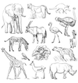 Hand drawn animal planet set vector image