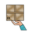 hand holding box shipping delivey icon image vector image vector image