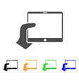 hand holds tablet icon vector image vector image