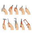Hands with different instruments vector image