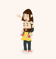 happy father carries with daughter on shoulders vector image