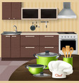 kitchen interior with cookware vector image vector image