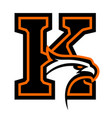 letter k with eagle head vector image vector image