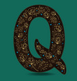 letter q with golden floral decor vector image vector image