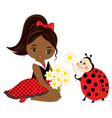 little african american girl with ladybug vector image vector image