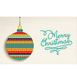 Merry christmas card design with colorful ornament vector image