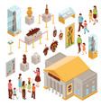 museum isometric icons set vector image vector image