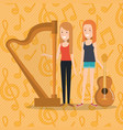 music festival live with women playing harp and vector image vector image