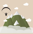 paragliding snow mountains vector image vector image