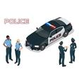 Police car - policeman - policewoman Flat 3d vector image vector image
