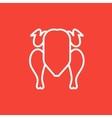 Raw chicken line icon vector image vector image