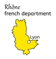Rhone french department map vector image