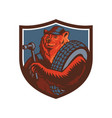 russian bear tireman shield mascot vector image vector image