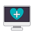 screen computer with heart shape on display vector image