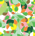 Seamless pattern with colored leaves and blots in vector image