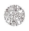set coffee theme line art draw icons