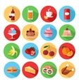 Set of flat food and drinks icons set vector image