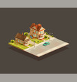 set suburbian family houses vector image vector image