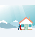 ski resort banner mountains landscape village vector image vector image