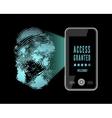 Smartphone scanning a fingerprint vector image