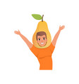 smiling man character in pear fruit headwear vector image vector image