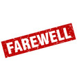 square grunge red farewell stamp vector image vector image