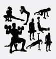 Training exercise sport male and female silhouette vector image vector image