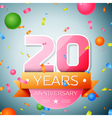 Twenty years anniversary celebration background vector image vector image