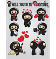 Valentines day card with cute cartoon ninja vector image vector image