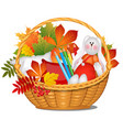 wicker basket with autumn leaves crayons a vector image