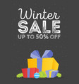 winter sale poster design template or gift box vector image vector image