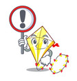 with sign kite cartoon fly away in sky vector image vector image