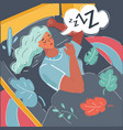 woman sleeping in bed vector image