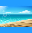 wooden wharf pier dock at seaocean and sunshine vector image vector image