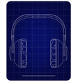 3d model of headphone on a blue vector image vector image