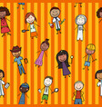 a seamless pattern of children from all over the vector image