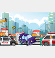 accident scene with car crash on highway vector image vector image