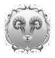 aries zodiac sign with silver frame horoscope vector image vector image
