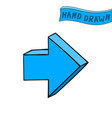 blue arrow next straight sign hand drawn sketch vector image vector image