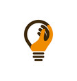 bulb icon with human hand vector image vector image
