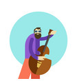 cartoon hippie man playing vector image