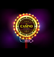 casino sign neon light outdoor vector image vector image