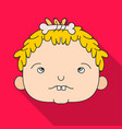 cavechild face icon in flate style isolated on vector image vector image