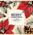 christmas card with holly and pine cones vector image vector image