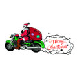 christmas flyers claus on a motorcycle vector image vector image