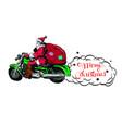 christmas flyers setsanta claus on a motorcycle vector image vector image
